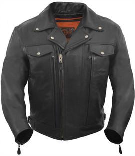 True Element Mens Premium Asymmetrical Leather Motorcycle Jacket with Utility Pockets (Black, Sizes S-5XL)