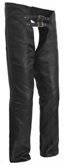 True Element Womens Double Buckle, Adjustable Thigh Motorcycle Leather Chaps (Black, Sizes 2XS-5XL)