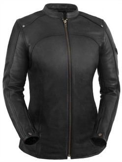True Element Womens Longer Length Scooter Collar Leather Motorcycle Jacket (Black, Sizes XS-3XL)