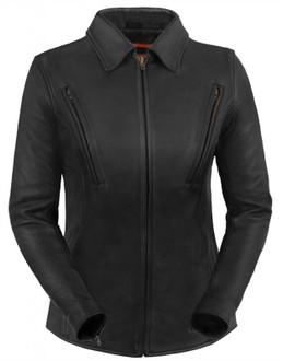 True Element Womens Premium  Longer Length Leather Motorcyle Jacket (Black, Sizes XS-3XL)