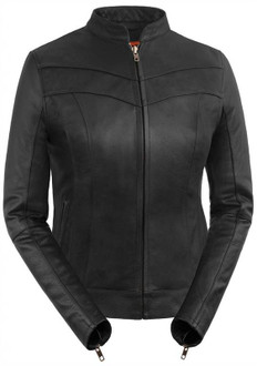 True Element Womens Side Buckle Fitted Scooter Collar Motorcycle Leather Jacket (Black, Sizes XS-3XL)