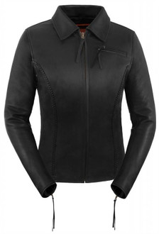 True Element Womens Easy Fit Side Stretch Panel Cruiser Style Leather Motorcycle Jacket (Black, Sizes XS-3XL)