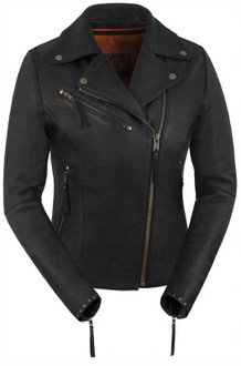 True Element Womens Premium Riveted Asymmetrical Motorcycle Leather Jacket (Black, Sizes XS-3XL)