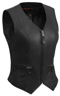 True Element Womens Short Fitted Motorcycle Leather Vest With Side Stretch Panel (Black, Sizes XS-3XL)