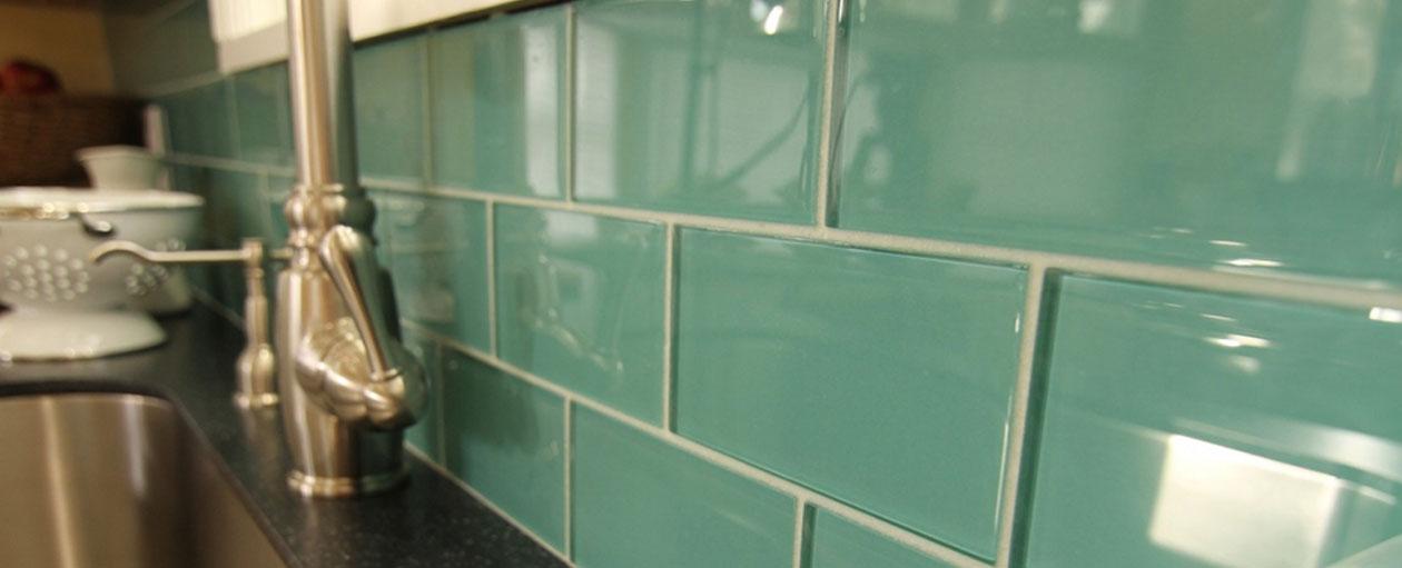 Glass subway tile kitchen backsplashes