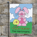 Cute Easter garden flag with the Easter Bunny and his chick pal holding hands.
