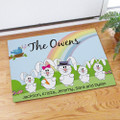 Easter doormat with the whole bunny family.