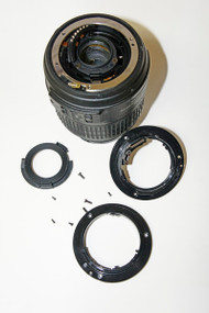 Lens disassembled and new base ready to go on.
