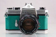 Emerald Pentax Spotmatic SP with 50mm f1.4 Super Takumar lens