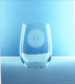 Etched stemless wine glass, NESM logo