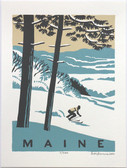 Framed Maine Skier Screen Print