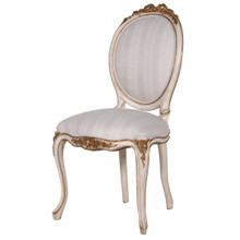 Marie Antoinette French Chateau Chair, Antique White & Gold