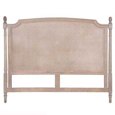 French rattan headboard lime washed shabby chic style Lime washed bedroom furniture