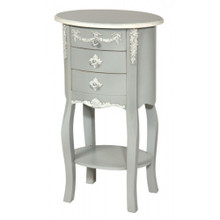 Marie Oval Side Table, Grey & White