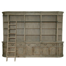 Wide Bookcase, Rustic Library Bookcase with ladder, French Style