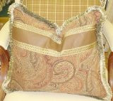"Equestrian Throw Pillow, Paisley & Leather.....22"" x 18"""