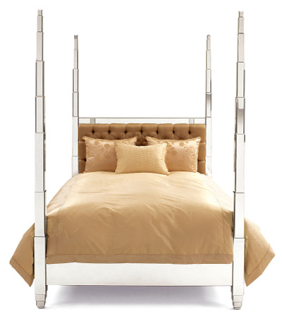 Mirrored four poster bed luxury mirrored furniture for Four poster dog bed for sale