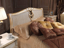 Rattan Bed, Louis XVI Bed, White & Gold