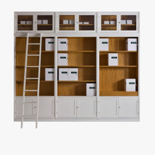 Luxury Bookcase, White & Natural Cherry