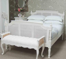Rattan Bed, Chateau Distressed White