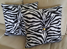 Zebra Print Bling Throw Pillow, Black And White