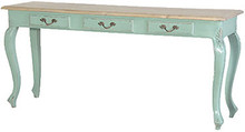 Turquoise French 3 Drawer Hall Table