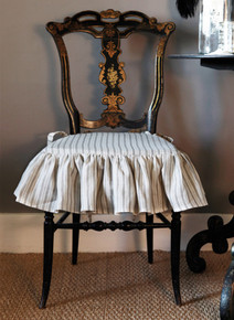 Charcoal Stripe Seat Cushion, fabric by Kate Forman