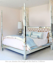 Four Poster Mirrored Bed, King
