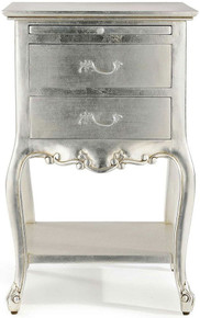 Chateau Silver Bedside Table, Silver Leaf