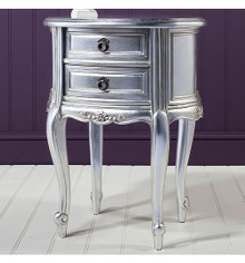 Silver Lamp Table, Silver Leaf