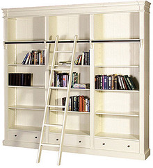 Antique White Library Bookcase with ladder, Made in USA