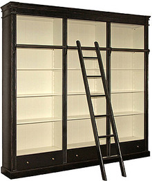 Black Library Bookcase with ladder, Made in USA