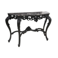 MARBLE & CARVED WOOD CONSOLE TABLE