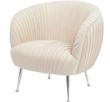 Art Deco Pleated Armchair, Cream Leather