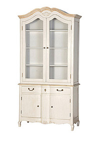 French Country Display Cabinet, Stone & Natural Oak French Style