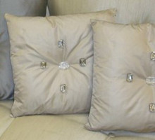 Charring Cross Diamond Throw Pillow, Grey Crystal