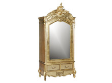 French Carved Armoire, Single Door Gold