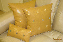 Milan Throw Pillow...Fawn Faux Leather 12 X 8