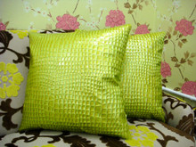 Crock Faux Leather Throw Pillow, Lime 18x18