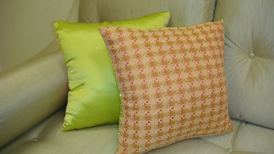 Couture throw pillow with vintage fabric by Chanel, made by Thundersley Home Essentials 212 889 1917