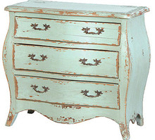 Turquoise Chest of Drawers, French Country Furniture Small 3 drawer