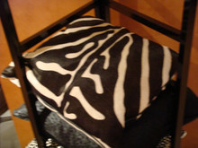 Leather Throw Pillow, Zebra Print, Color Brown & White 22 x 22