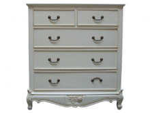 French Carved Chest 5 Drawer.....Ivory