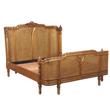 French Country Rattan Bed, Gold Leaf