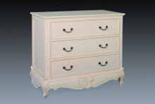French Carved 3 Drawer Chest.....Ivory with slight antiquing