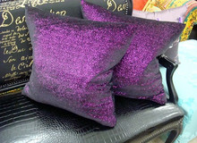 Luxury Purple Glitter Throw Pillow Cover, Bling Style