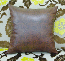 Brown Snakeskin Pillow Cover, Faux Leather