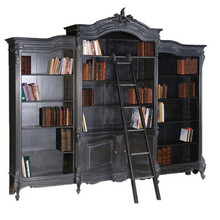 Bookcase, French Carved Bookcase Display with ladder, Black