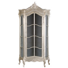 French Carved Display Cabinet, Silver Leaf