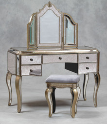 Mirrored Dressing Table Mirror Stool Set , Antique Venetian Style